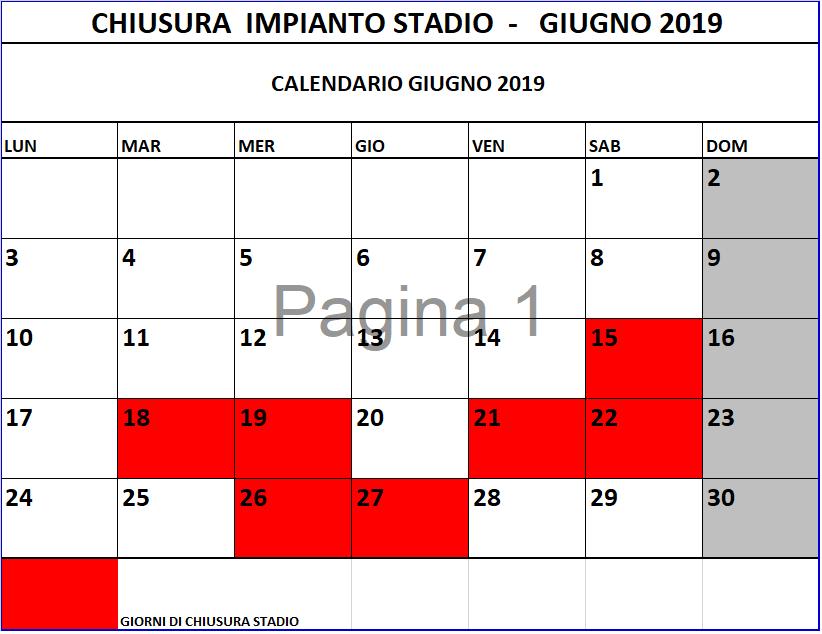 Calendario Fitness 2019.Calendario Chiusura Palestra Stadio Giugno 2019 Sempre